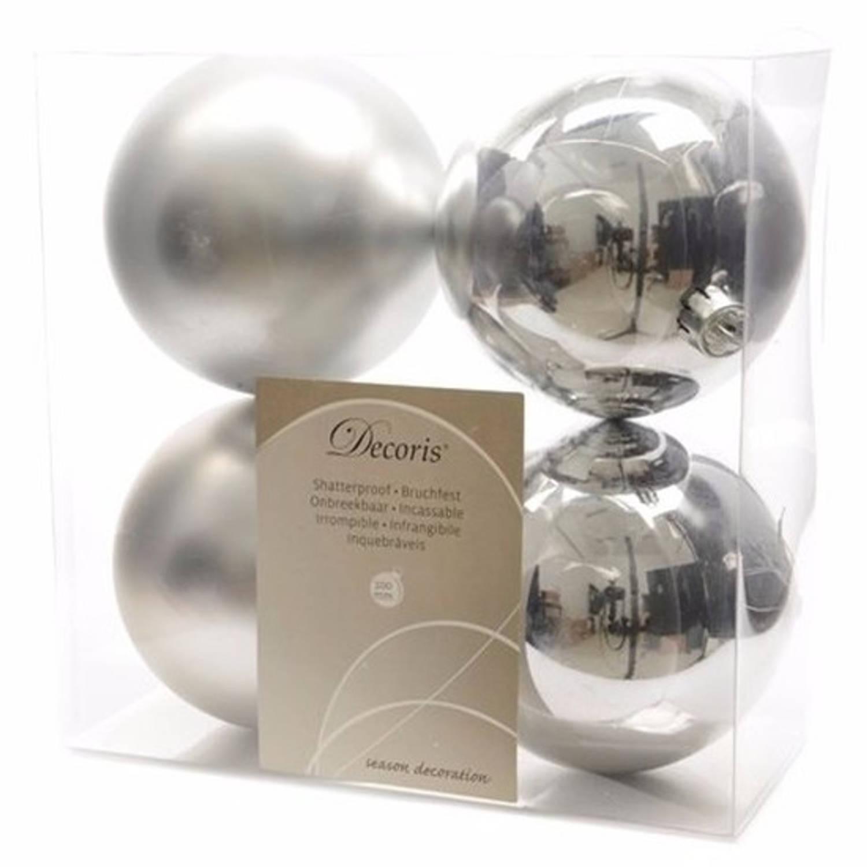 Onbreekbare zilveren kerstballen 10 cm - 8 stuks - kerstversiering