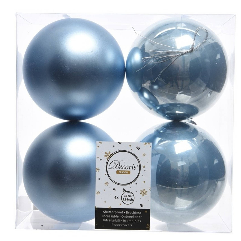 Onbreekbare ijsblauwe kerstballen 10 cm 8 stuks kerstversiering