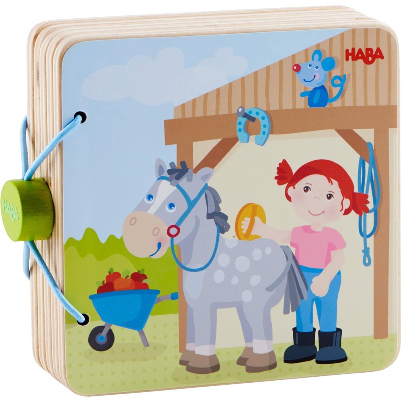 Haba babyboek hout Manege avonturen 14 cm