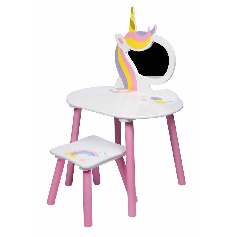 Toilettafel Met Spiegel Wit.Eenhoorn Kaptafel Met Spiegel En Kruk Roze Wit Blokker