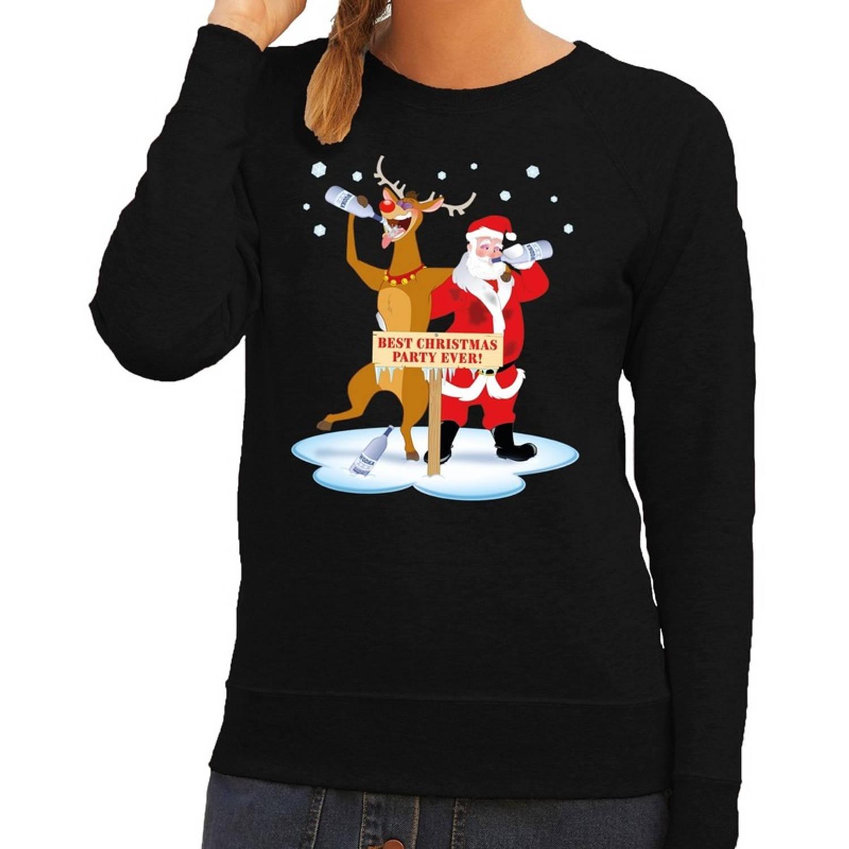 Foute kersttrui / sweater dronken kerstman en rendier Rudolf na kerstborrel/ feest zwart voor dames - Kersttruien S (36)