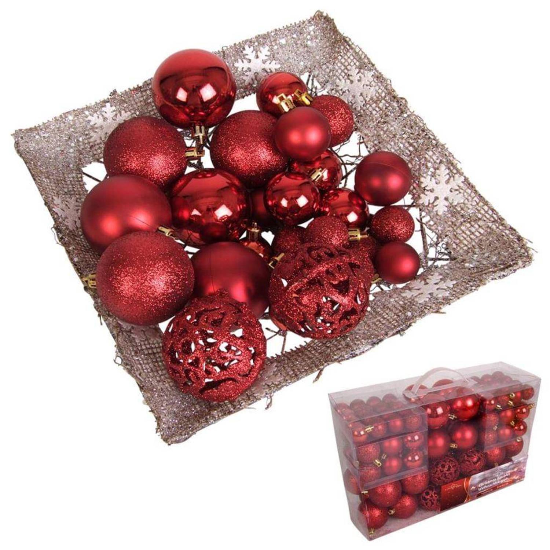 Afbeelding van 100 Kerstballen Roodkleurig (Plastic)