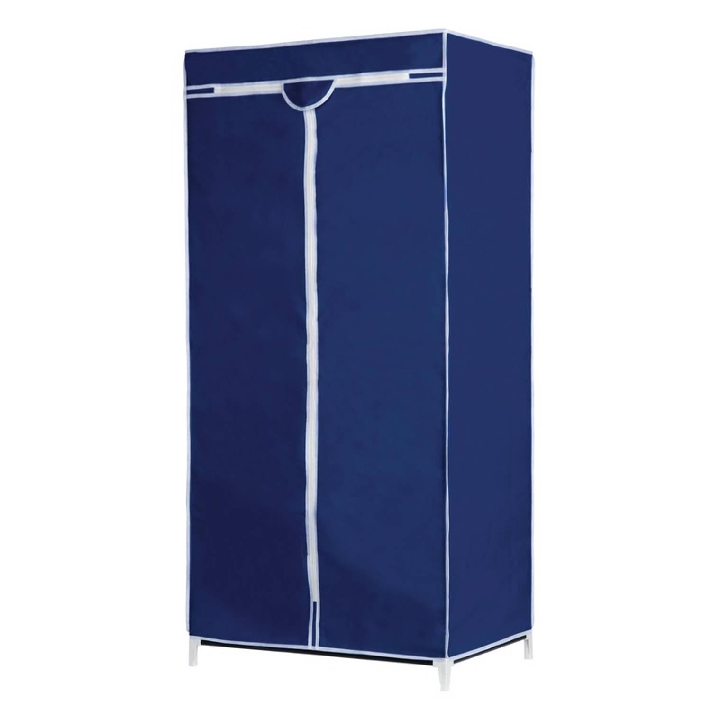 Mobiele opvouwbare kledingkast/garderobekast 160 cm blauwe hoes - Camping/zolder
