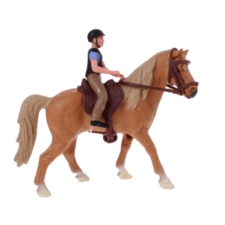 Johntoy paardenspeelset ruiter met paard bruin 11 cm
