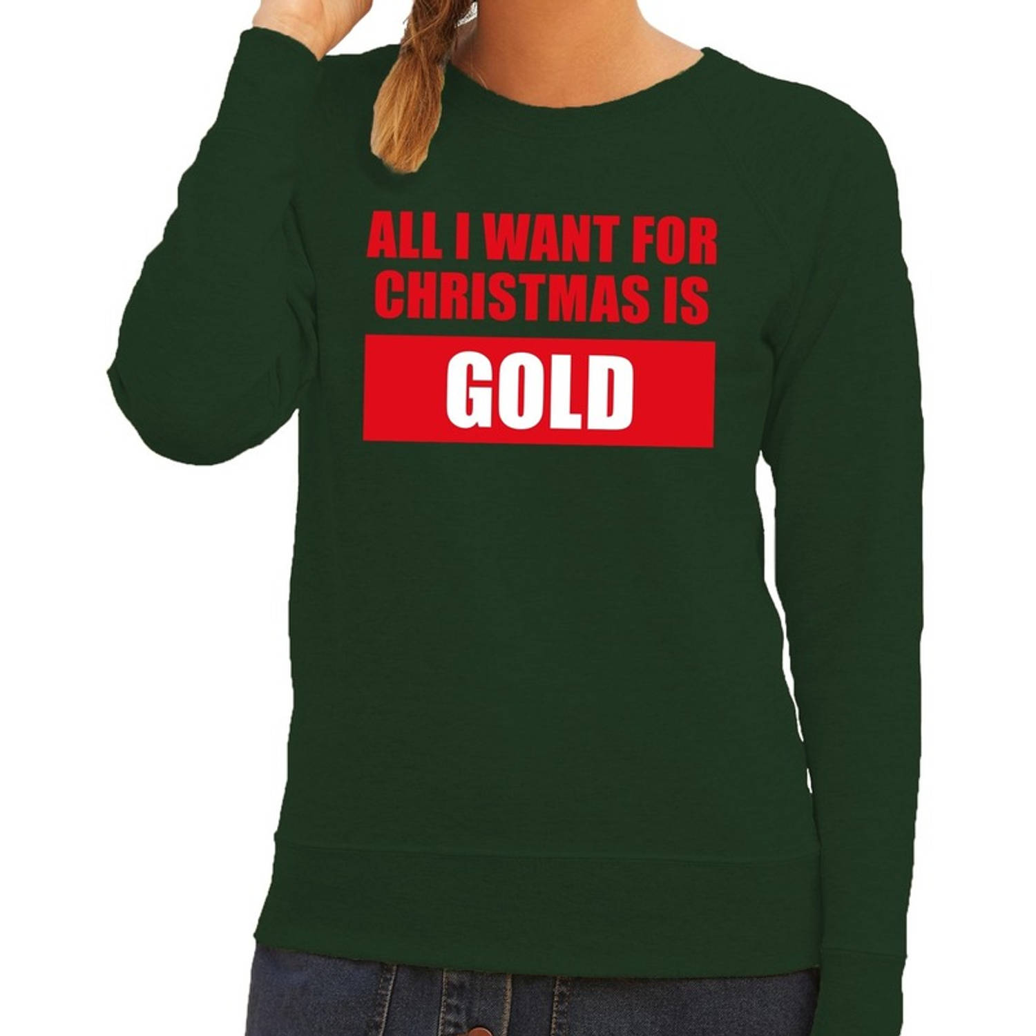 Image of Foute kersttrui / sweater All I Want For Christmas Is Gold groen voor dames - Kersttruien L (40)