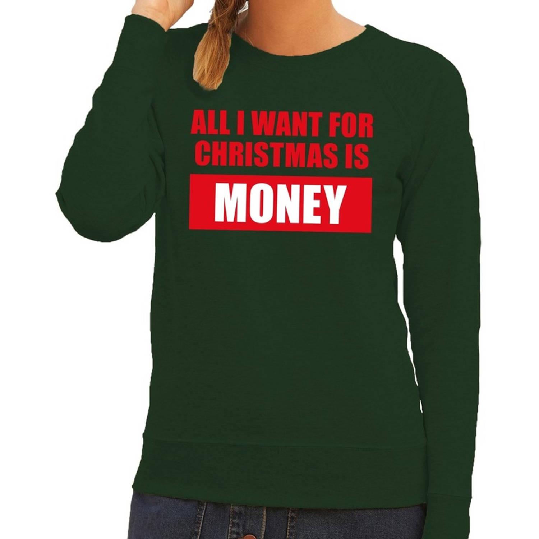 Foute kersttrui / sweater All I Want For Christmas Is Money groen voor dames - Kersttruien XL (42)