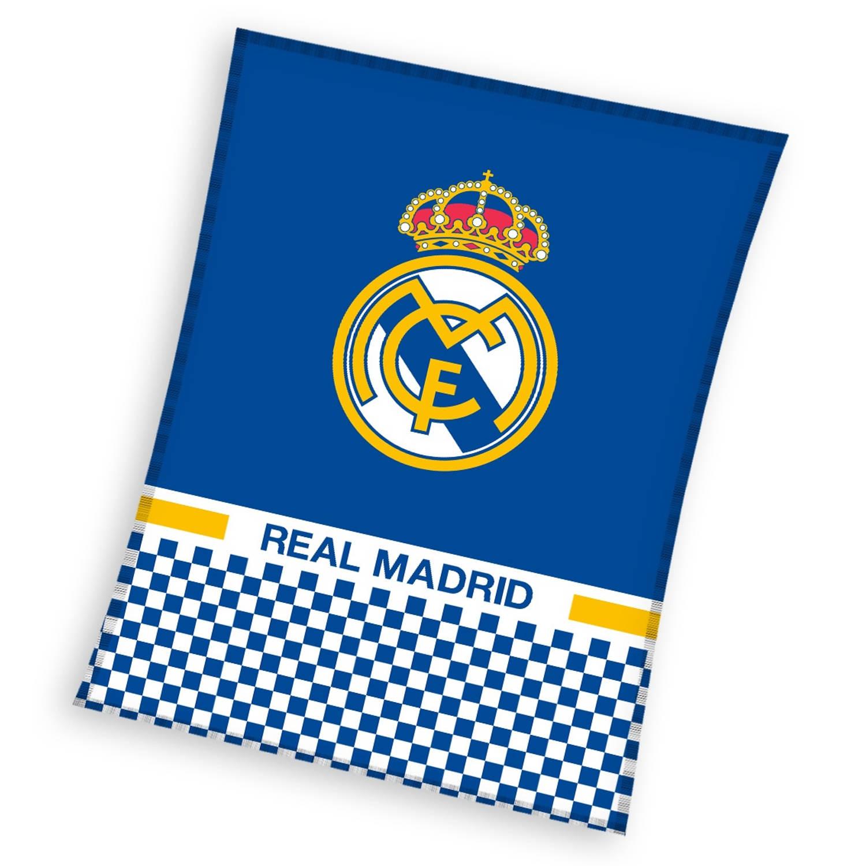 Real Madrid fleecedeken 110 x 140 cm blauw