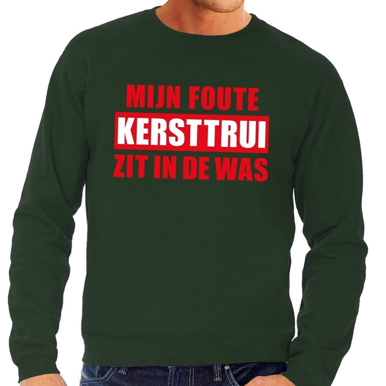 Foute Kersttrui - Sweater - Groen - Mijn Foute Kersttrui Zit In De Was Voor Heren 2xl (56)