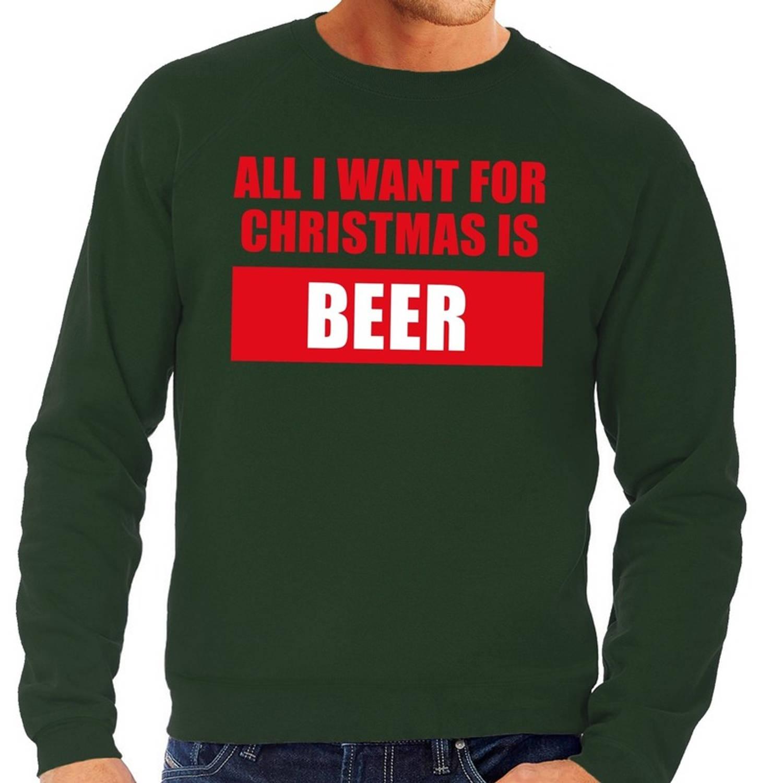 Foute kersttrui / sweater All I Want For Christmas Is Beer groen voor heren - Kersttruien S (48)