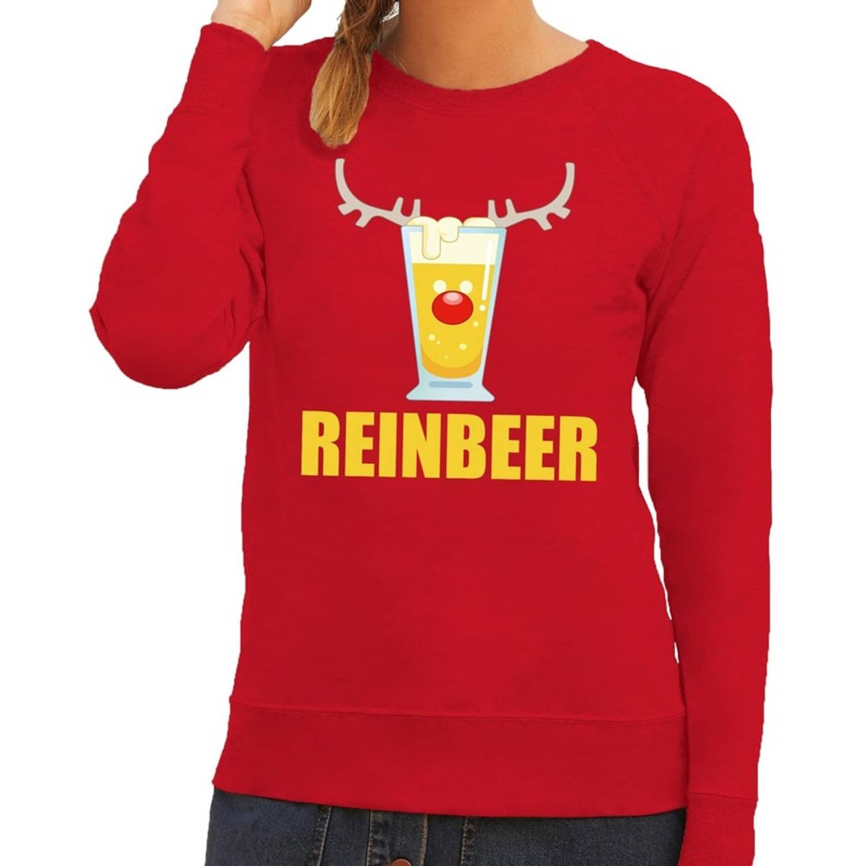 Foute kersttrui / sweater Reinbeer rood voor dames - Kersttruien XS (34)