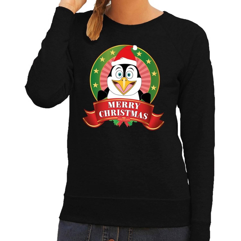 Foute kersttrui / sweater pinguin - zwart - Merry Christmas voor dames M (38)