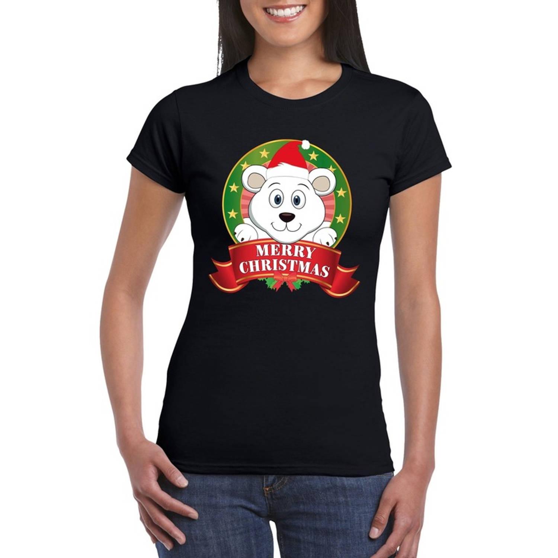 IJsbeer Kerst t-shirt zwart Merry Christmas voor dames - Kerst shirts XL