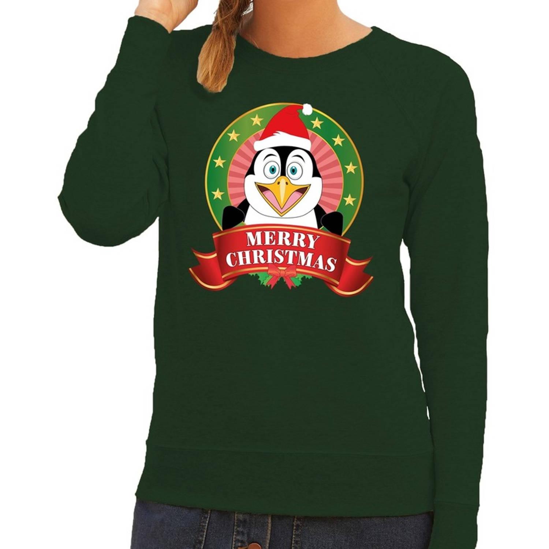 Foute kersttrui / sweater pinguin - groen - Merry Christmas voor dames M (38)