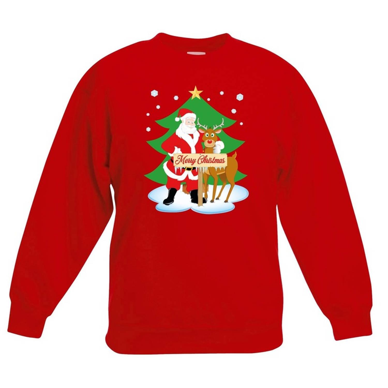 Rode kersttrui kerstman en rendier Rudolf voor kerstboom voor jongens en meisjes - Kerstruien kind 3-4 jaar (98/104)