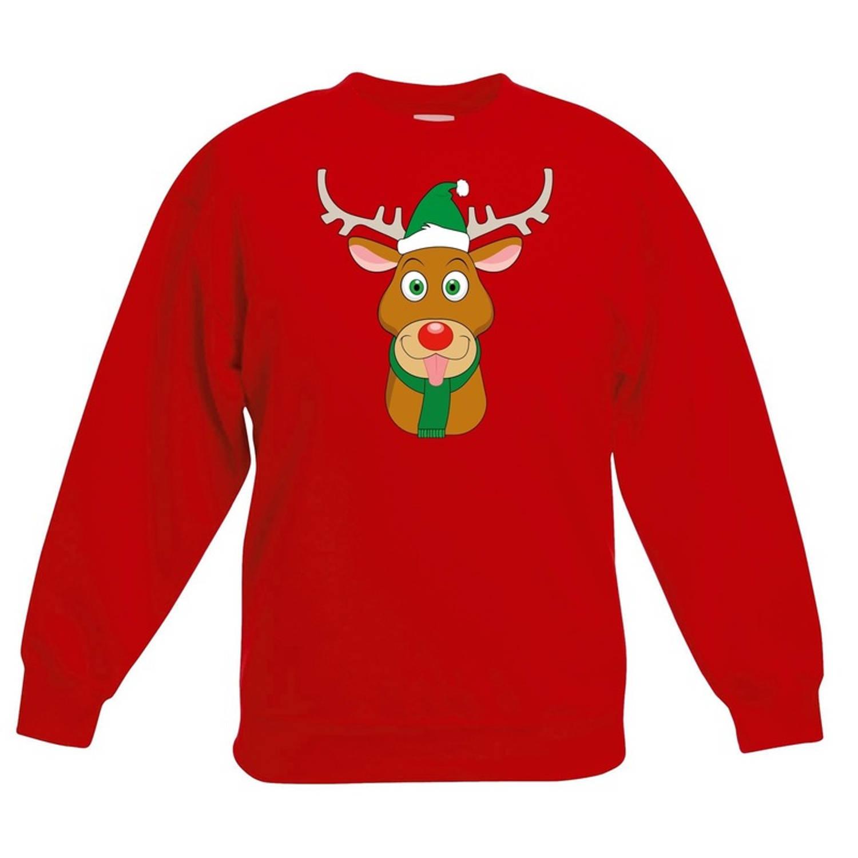 Rode kersttrui rendier Rudolf met groene kerstmuts voor jongens en meisjes - Kerstruien kind 9-11 jaar (134/146)