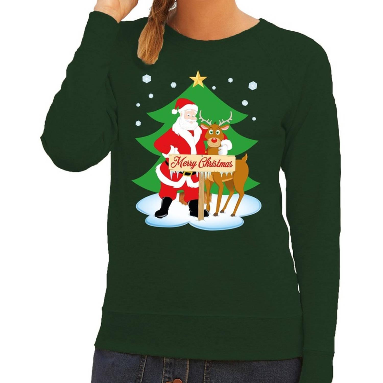 Foute kersttrui / sweater met de kerstman en rendier Rudolf groen voor dames - Kersttruien L (40)