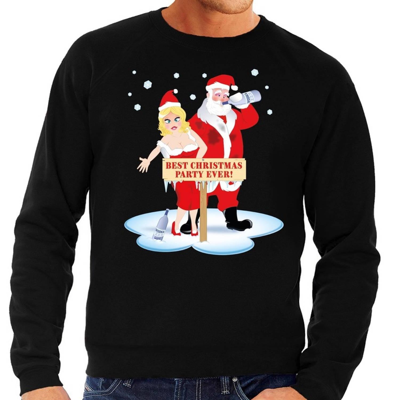 Foute kersttrui / sweater dronken kerstman en kerstvrouw na kerstborrel/ feest zwart voor heren - Kersttruien XL (54)
