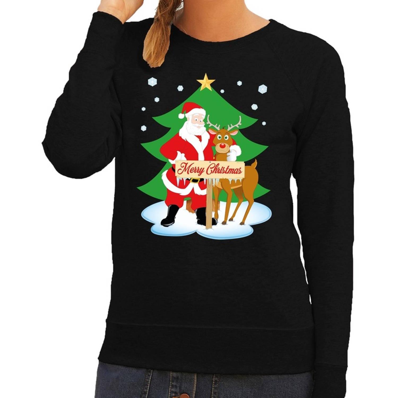 Foute kersttrui / sweater met de kerstman en rendier Rudolf zwart voor dames - Kersttruien XL (42)