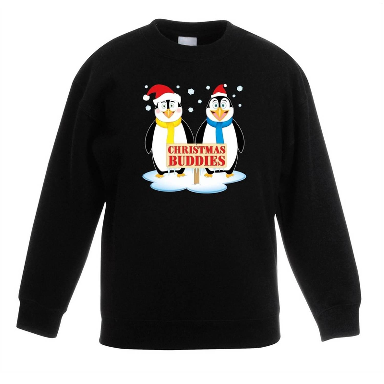 Zwarte kersttrui met 2 pinguin vriendjes voor jongens en meisjes - Kerstruien kind 7-8 jaar (122/128)