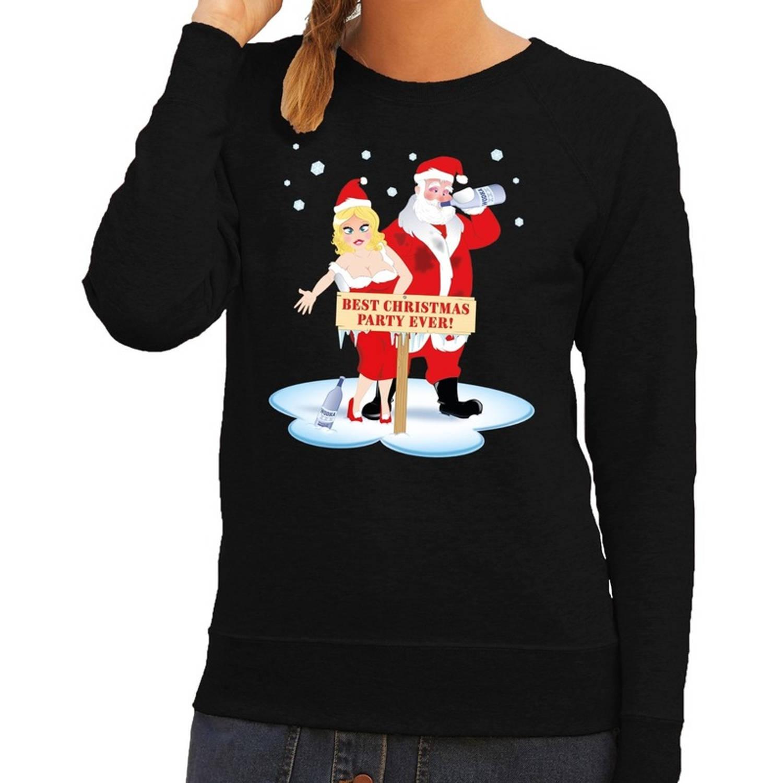 Foute kersttrui / sweater dronken kerstman en kerstvrouw na kerstborrel/ feest zwart voor dames - Kersttruien XS (34)