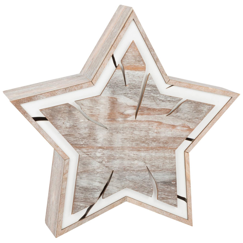 Small Foot houten kerstster met verlichting 34 cm
