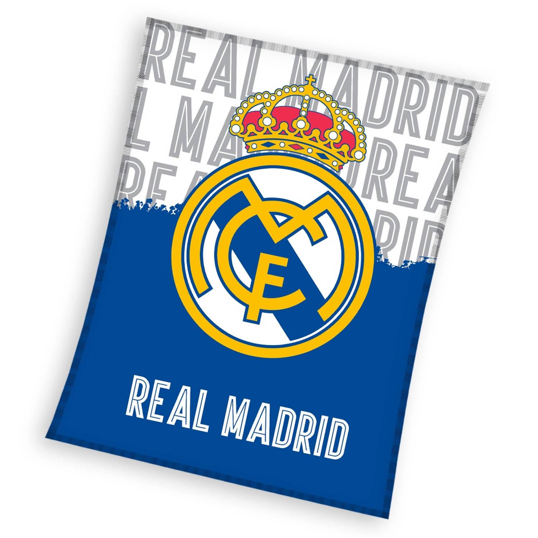 Real Madrid fleecedeken blauw/wit 130 x 160 cm