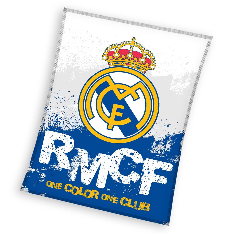 Real Madrid fleecedeken 130 x 160 cm blauw/wit