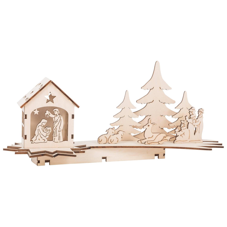 Small Foot houten kerststal met verlichting 31 cm