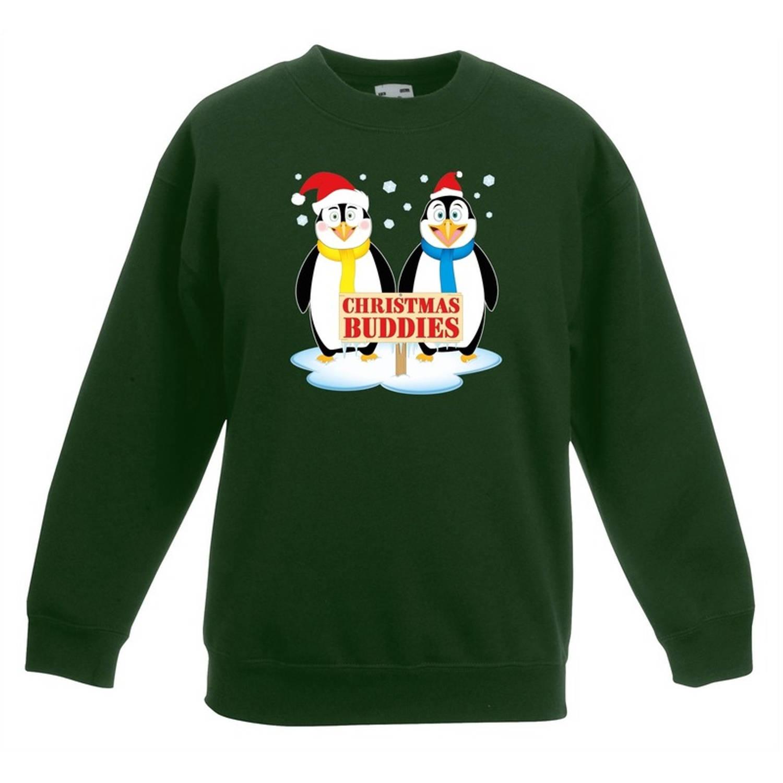 Groene kersttrui met 2 pinguin vriendjes voor jongens en meisjes - Kerstruien kind 12-13 jaar (152/164)
