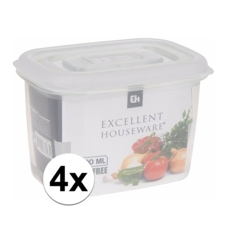 Image of 4x Transparant vershoudbakjes 600 ml
