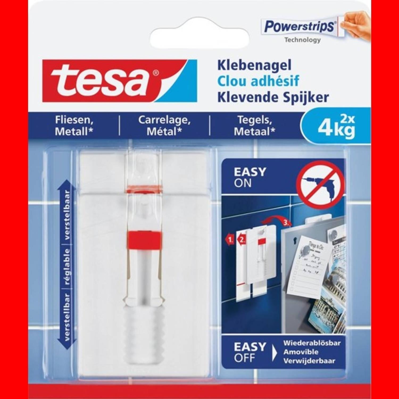 Afbeelding van 10x Tesa Klevende Spijker voor Tegels en Metaal, verstelbaar, draagvermogen 4 kg, blister a 2 stuks