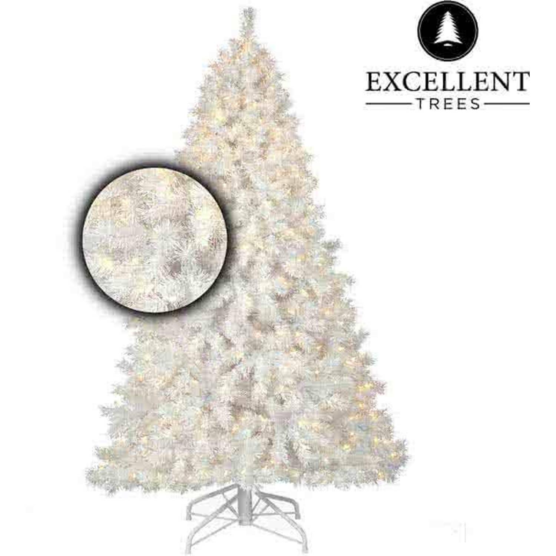Witte kerstboom Excellent Trees® LED Stavanger White 210 cm met verlichting - Luxe uitvoering - 500 Lampjes