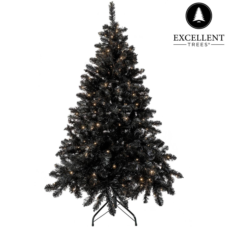 Zwarte kerstboom Excellent Trees® LED Stavanger Black 210 cm met verlichting - Luxe uitvoering - 500 Lampjes