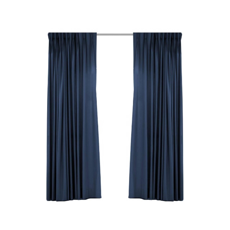 Geweven verduisterend gordijn - Larson -Dark Blue- Ringen - 150x250 cm