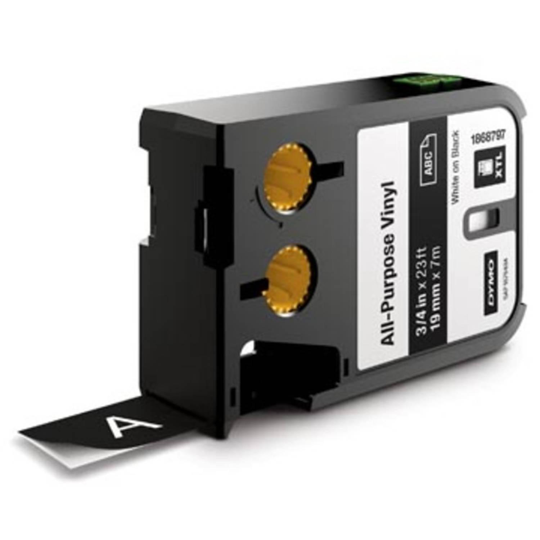 Dymo XTL tape ft 19 mm, wit op zwart, vinyl