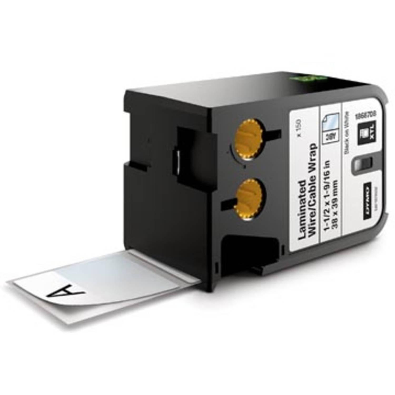 Dymo XTL gelamineerde snoer- en kabelwikkels, ft 38 mm x 39 mm, zwart op wit