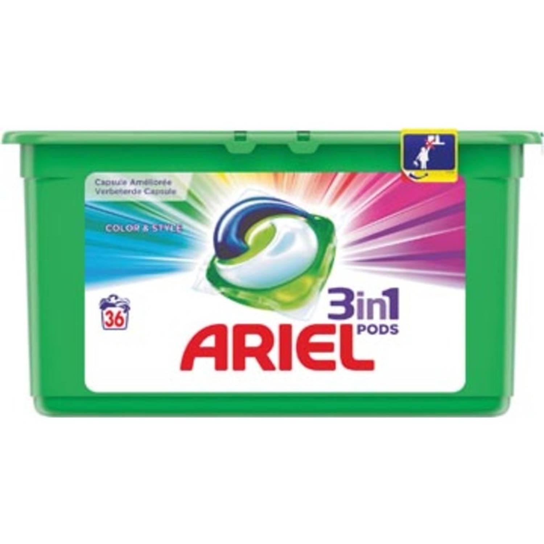 Afbeelding van Ariel 3 in 1 wasmiddel pods Color, doos van 36 stuks