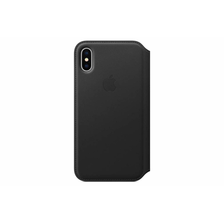 Zwarte Leather Folio Book Case voor de iPhone X