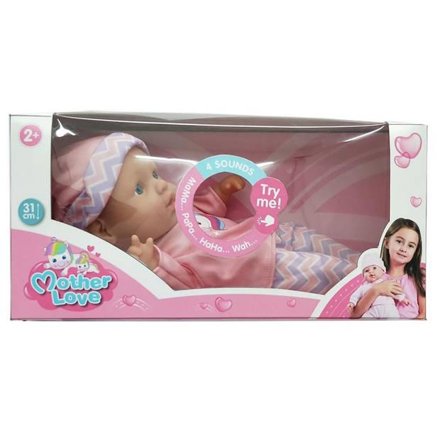 My Little Baby babypop Mother Love met 4 geluiden 31 cm roze