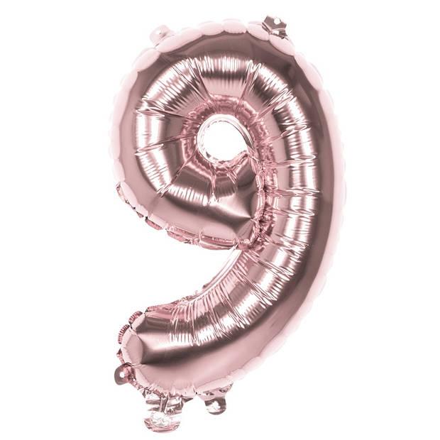 Boland ballon cijfer 9 rosé goud 86 cm