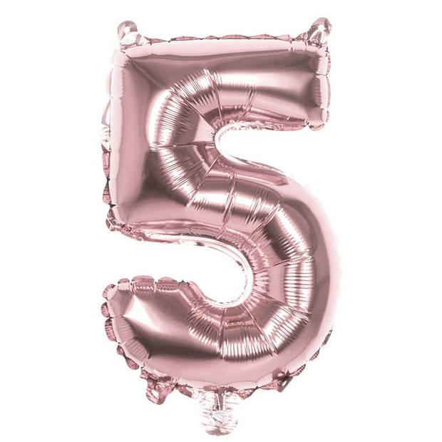 Boland ballon cijfer 5 rosé goud 36 cm