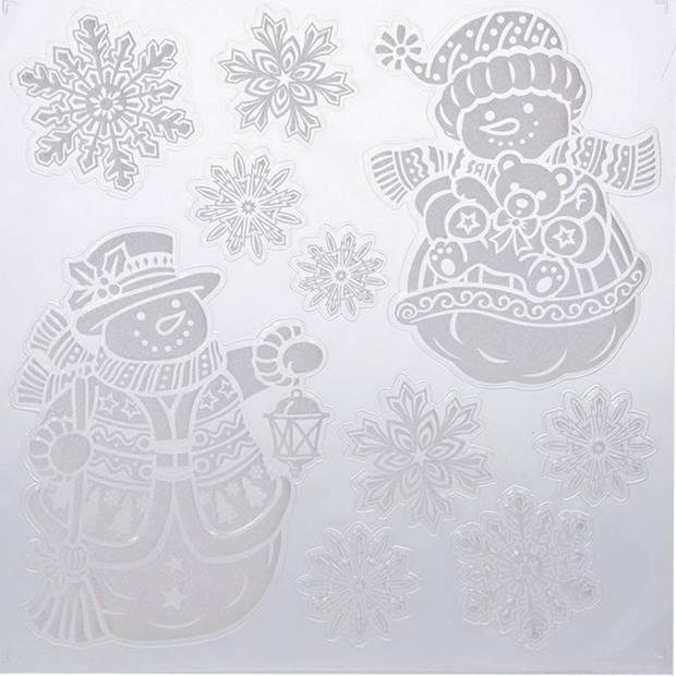 Kerst raamstickers sneeuwpop/sneeuwvlok plaatjes 31 x 39 cm - Raamdecoratie kerst - Kinder kerststickers