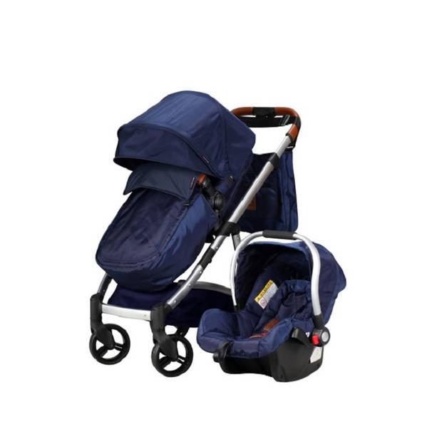 COMBI DEAL! Born Lucky Kinderwagen Rapido Starlight Blue + Gratis Verzorgingstas & Tashaken