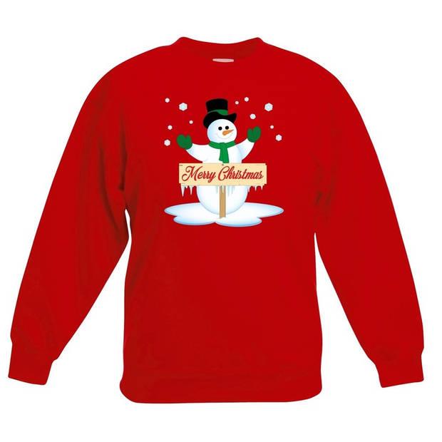 Rode kersttrui met sneeuwpop voor jongens en meisjes - Kerstruien kind 12-13 jaar (152/164)