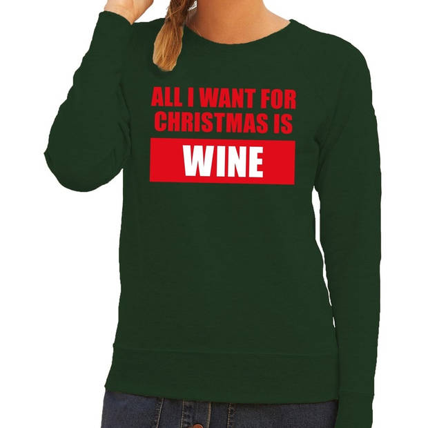 Foute kersttrui / sweater All I Want For Christmas Is Wine groen voor dames - Kersttruien XS (34)