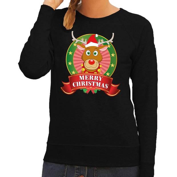 Foute kersttrui / sweater Rudolf - zwart - Merry Christmas voor dames XL (42)