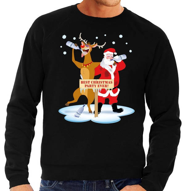Foute kersttrui / sweater dronken kerstman en rendier Rudolf na kerstborrel/ feest zwart voor heren - Kersttruien S (48)