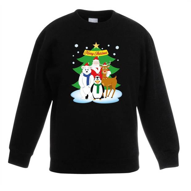 Zwarte kersttrui met de kerstman en zijn dieren vriendjes voor jongens en meisjes - Kerstruien kind 5-6 jaar (110/116)