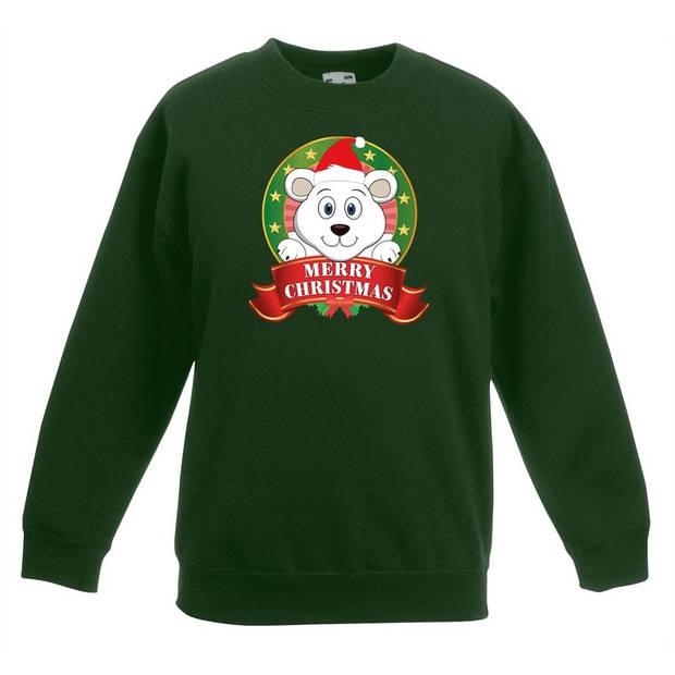 Groene kersttrui met een ijsbeer jongens en meisjes - Kerstruien kind 9-11 jaar (134/146)