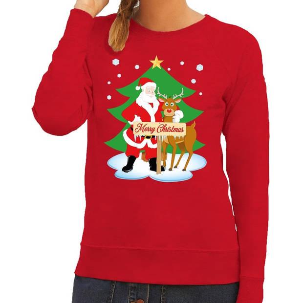 Foute kersttrui / sweater met de kerstman en rendier Rudolf rood voor dames - Kersttruien S (36)